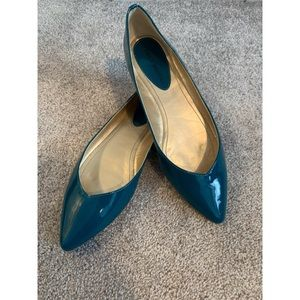 Audrey Brooke Cici Teal Patent Leather Flat